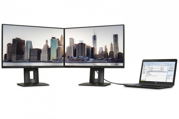 Z24nq possui moldura fina para usar em conjunto com outro monitor (Foto: Divulgação/HP)
