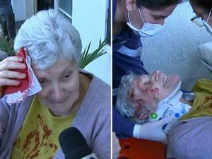 Idosa cai após escorregar em santinhos em rua de São Carlos (Foto: Marlon Tavoni/ EPTV)