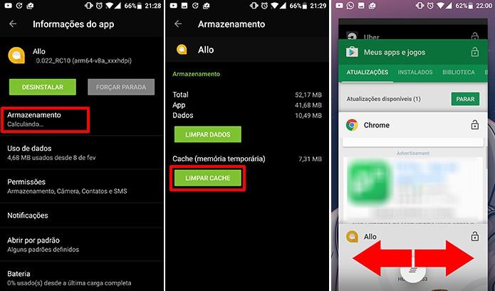 Usuário pode limpar o cache e fechar o Google Allo para que adesivos de selfies apareçam (Foto: Reprodução/Elson de Souza)