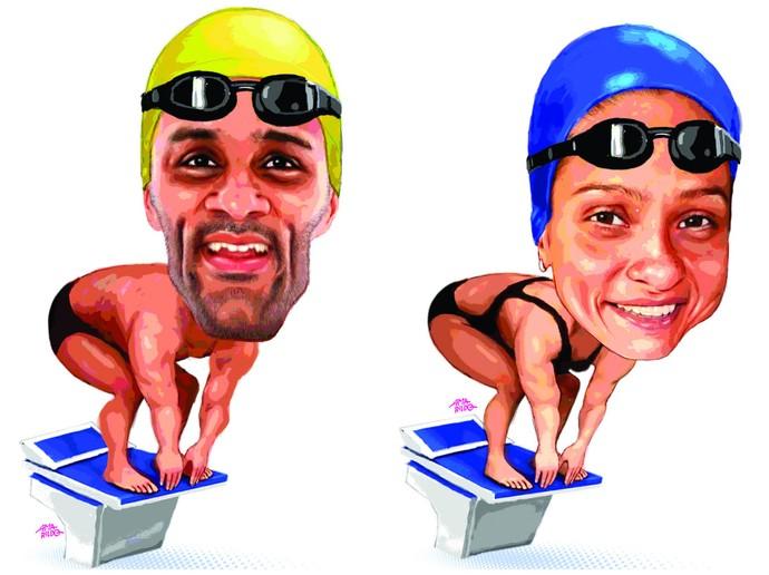 João Gomes e Daiene Dias (natação) (Foto: Amarildo/Ed. de Artes/A Gazeta)