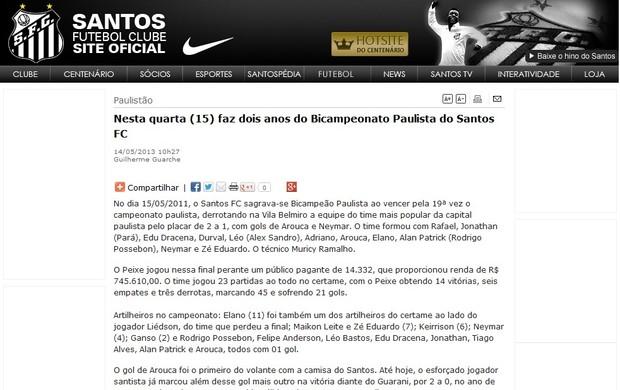 Santos Corinthians site oficial (Foto  Reprodução   Site oficial do ... b37ee389c8eda
