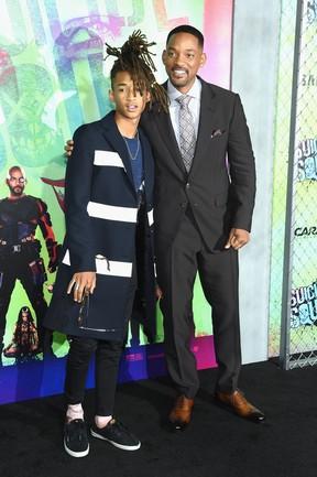 Jaden Smith e Will Smith em première de filme em Nova York, nos Estados Unidos (Foto: Jamie McCarthy/ Getty Images/ AFP)