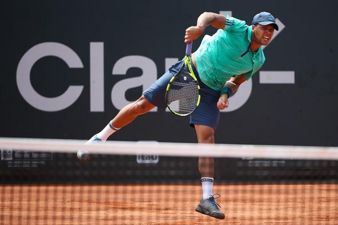 Jo-Wilfried Tsonga em partida contra Thiago Monteiro no Aberto do Rio (Foto: Fotojump)