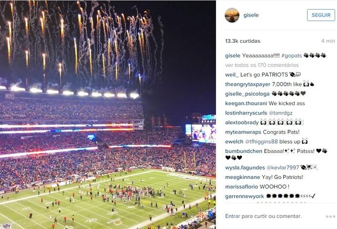 Gisele Bündchen postou foto no Instagram no estádio dos Patriots (Foto: Reprodução/Instagram)