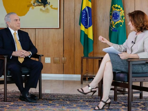 Michel Temer dá entrevista a Miriam Leitão (Gnews) (Foto: GloboNews)