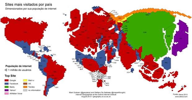 Mapa mostra site mais visitado por país (Foto: Universidade de Oxford)