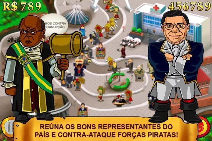 Joaquim Barbosa presidente? Para jogo brasileiro, sim, que também o retrata como Batman brasileiro (Foto: Divulgação)