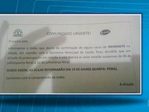 Escolas suspendem aulas após casos de meningite (Foto: Reprodução / TV Bahia)