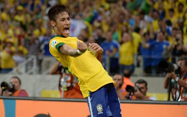 Neymar comemora, Brasil x México (Foto: André Durão)