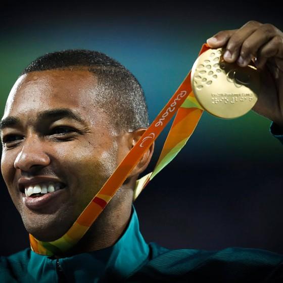 Ricardo Costa atleta Paralímpico ganha ouro no  salto em  distancia na categoria T11 (Foto: Guilherme Leporace/Agência O Globo)