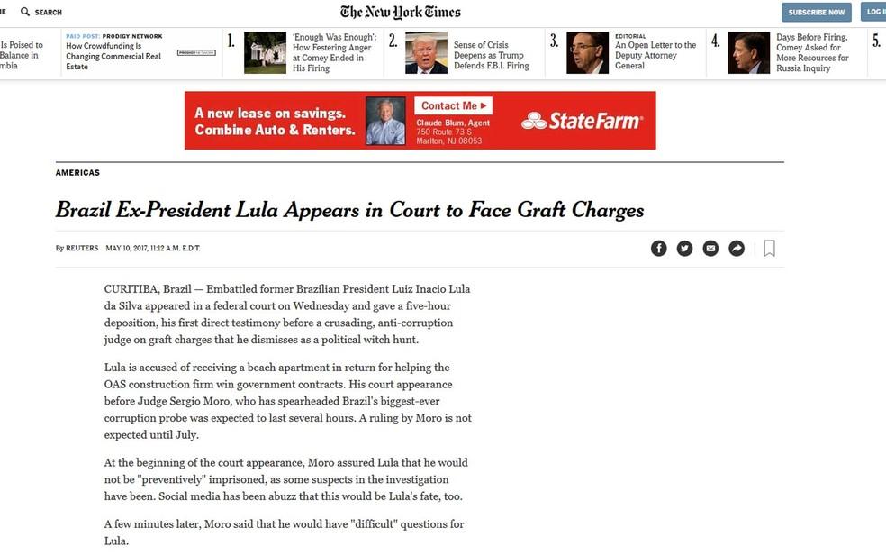 """O """"The New York Times"""" fez um relato do encontro (Foto: Reprodução / NYT)"""