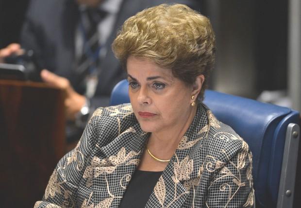 A presidente afastada, Dilma Rousseff, faz sua defesa durante sessão de julgamento do impeachment no Senado (Foto: Fabio Rodrigues Pozzebom/Agência Brasil)