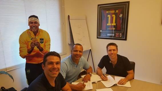 Marcus Buaiz, Neymar Pai e Charles Martins: staff da Neymar Sports (Foto: divulgação)