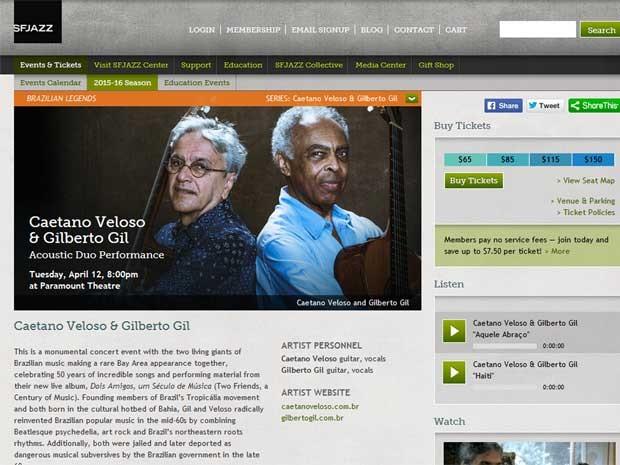 Caetano Veloso e Gilberto Gil vão cantar nos EUA (Foto: Reprodução / site SFJAZZ)