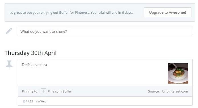 Buffer mostra agendamento de publicação do pin no Pinterest (Foto: Reprodução/ Raquel Freire)