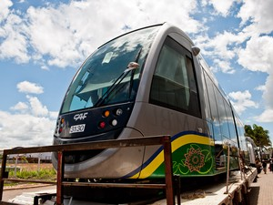 Primeira parte do VLT chega a Cuiabá (Foto: Edson Rodrigues/Secopa-MT)
