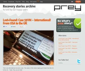 Site do Prey Project reúne histórias e agradecimentos sobre dispositivos recuperados (Foto: Reprodução)