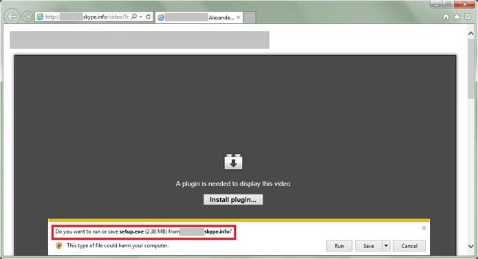 Link falso enviado por Skype faz vítima instalar trojan no computador (Foto: Reprodução/Secure List)