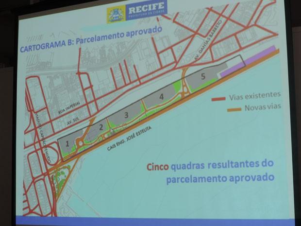 Desenho antigo do Projeto Novo Recife, no Cais José Estelita (Foto: Vitor Tavares / G1)