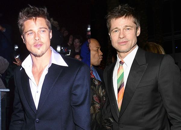 Brad Pitt em 1998 / Brad Pitt em 2017 (Foto: Getty Images)