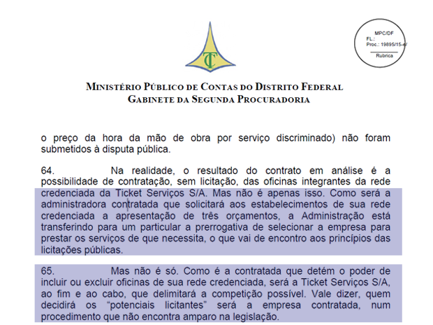 Parecer do Ministério Público de Contas que pede anulação do contrato com a empresa Ticket Car (Foto: Reprodução)