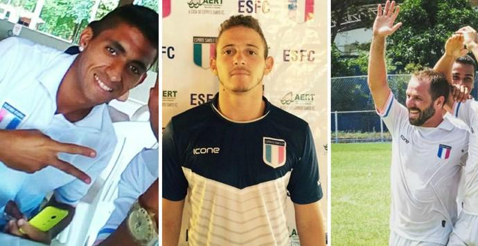 Leandro Brito, Leandro Moraes e Gabriel Peruzzo renovaram com o Espírito Santo (Foto: Editoria de arte)