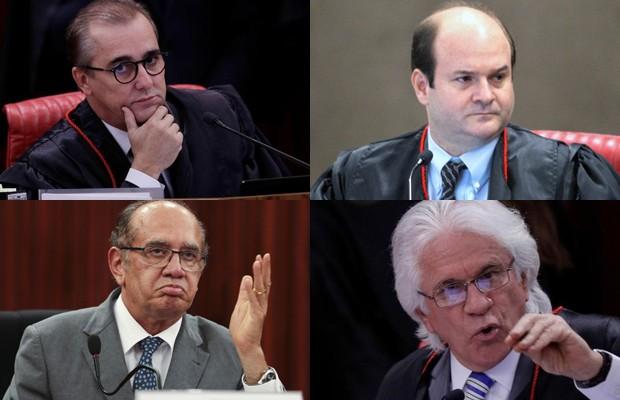 Ministros do TSE que salvaram a chapa Dilma-Temer da cassação (Foto: Ueslei Marcelino/Reuters; Marcello Casal Jr/Agência Brasil; Divulgação/TSE)