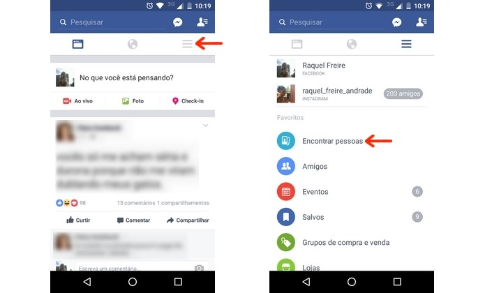 Caminho para nova ferramenta de encontrar pessoas do Facebook para Android (Foto: Reprodução/Raquel Freire)