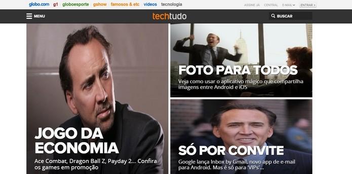nCage transforma todas as imagens de uma página em foto do Nicolas Cage (Foto: Reprodução/Raquel Freire)