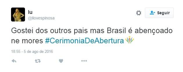 Entrada Brasil, cerimônia (Foto: Reprodução Twitter)