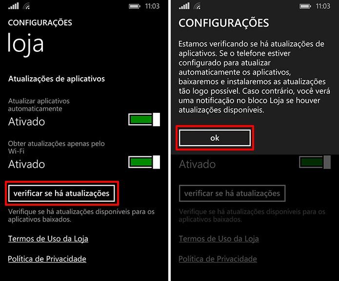 Loja do Windows Phone pode verificar atualizações manualmente a partir de comando dos usuários (Foto: Reprodução/Elson de Souza)