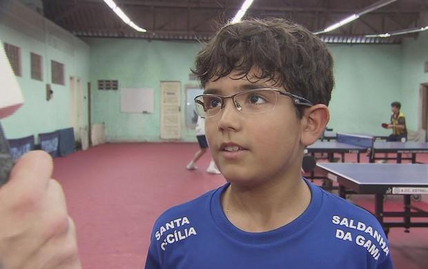 Guilherme Teodoro Saldanha da Gama tênis de mesa (Foto: Reprodução / TV Tribuna)