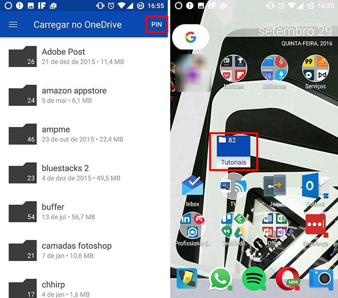 OneDrive fixará pasta do usuário na tela inicial como atalho (Foto: Reprodução/Elson de Souza)