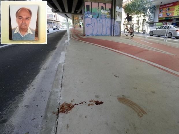 Aposentado Florisvaldo Carvalho da Rocha foi atingido na faixa de ônibus ao lado da ciclovia (Foto: Nelson Antoine/Frame/Estadão Conteudo)