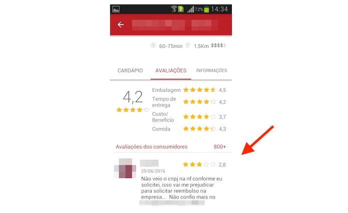 Avaliações de um restaurante no iFood para Android (Foto: Reprodução/Marvin Costa)