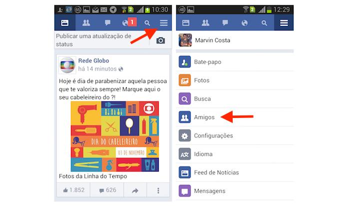 Acessando a página de amigos do Facebook através da versão lite para Android (Foto: Reprodução/Marvin Costa)