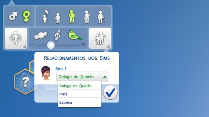 Escolha o tipo de relacionamento entre seus Sims (Foto: Reprodução/Tais Carvalho)