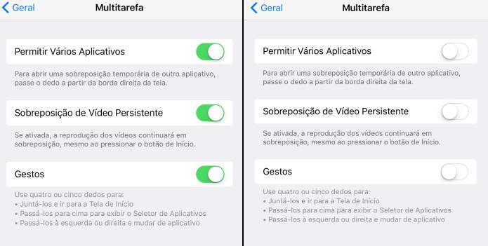 Desativando as opções de multitarefa do iPad (Foto: Reprodução/Edivaldo Brito)