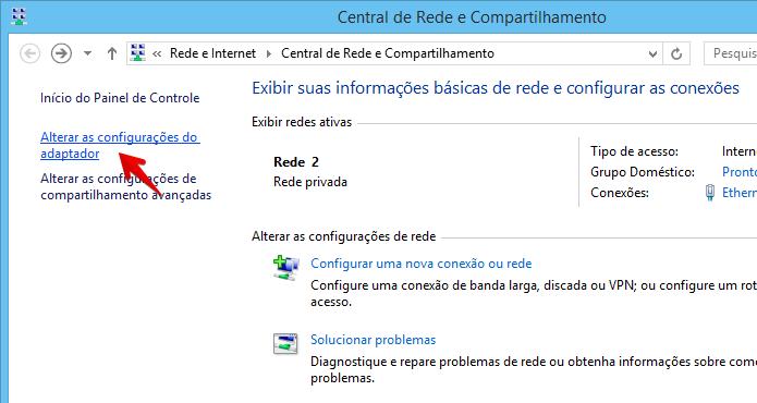 Acesse as configurações do adaptador de rede (Foto: Reprodução/Helito Bijora)