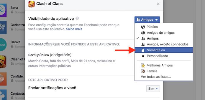 Alteração de privacidade de um aplicativo vinculado ao Facebook (Foto: Reprodução/Marvin Costa)