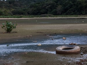 Parte do RioTietê seco e com lixo (Foto: Victor Moriyama/G1)