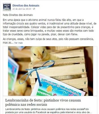 Guapé, Ilicínea, pintinhos, aniversário, polêmica (Foto: Reprodução/ Facebook)