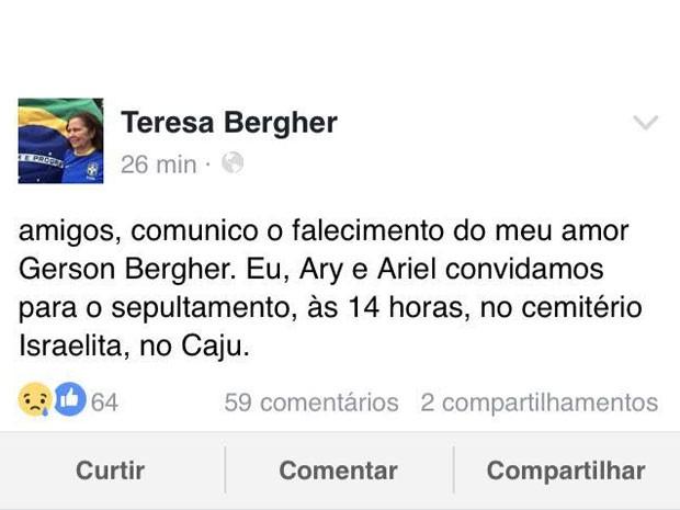 Teresa Bergher lamentou a morte do companheiro de 32 anos esta manhã (Foto: Reprodução / Facebook)