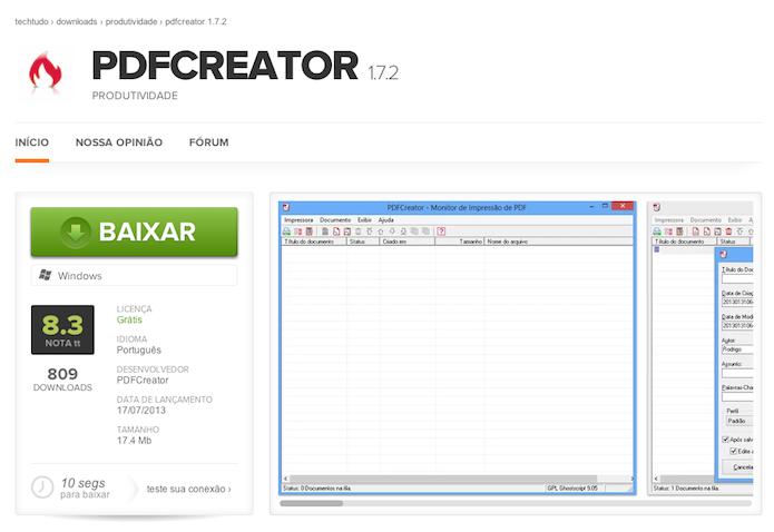 Baixando o PDFCreator no TechTudo Downloads (Foto: Reprodução/Marvin Costa)