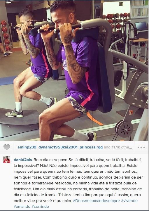 Daniel Alves deixa mensagem no Instagram