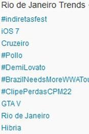Trending Topics no Rio às 17h18. (Foto: Reprodução/Twitter.com)