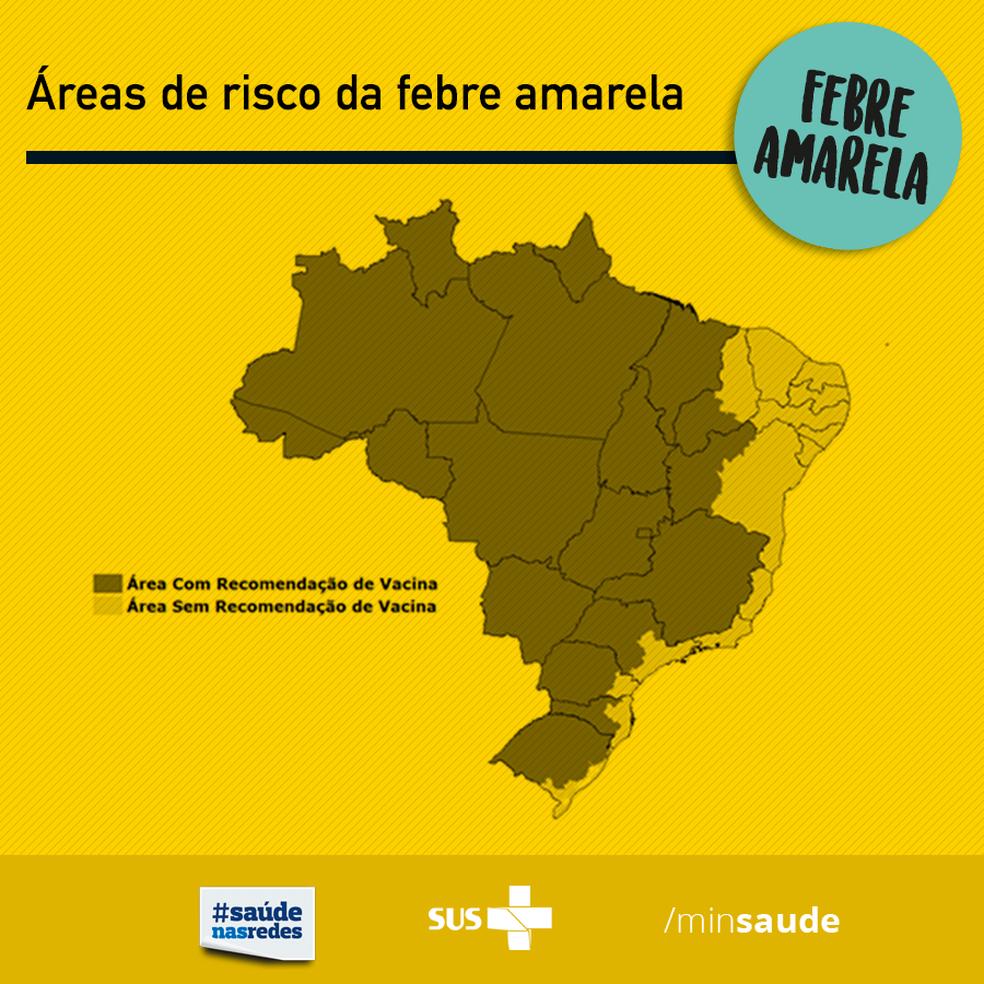 Mapa do Ministério da Saúde mostra áreas de risco para a febre amarela (Foto: Divulgação/Ministério da Saúde)