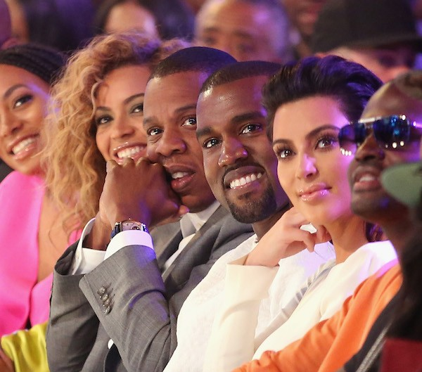 Beyoncé, Jay-Z, Kanye West e Kim Kardashian (Foto: Getty Images)