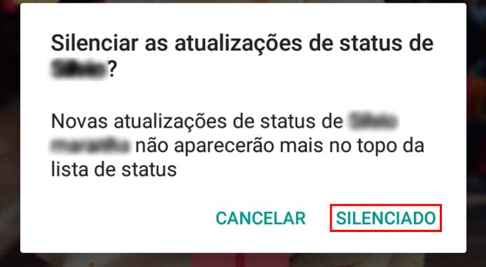 Confirmando o silenciamento de status de um amigo no WhatsApp (Foto: Reprodução/Edivaldo Brito)
