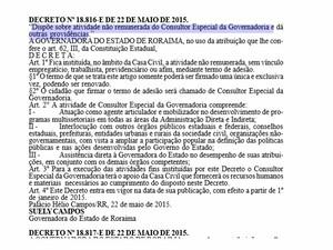 Cargo de 'Consultor Especial da Governadoria' não tem remuneração ou vínculo empregatício com o estado; função fica no âmbito da Casa Civil (Foto: Reprodução/Diário Oficial do Estado)